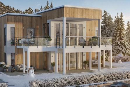 Unik stor enebolig med flott utsikt og 895 m² tomt. Dobbel garasje med stor bod i underetasjen.