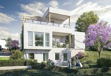 Illustrasjon av fasad på hagesiden. Virkelig leveranse vil avvike fra illustrasjon.