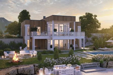 Aksdal - Stilfull familiebolig over to etasjer med mulighet for 5 soverom , 3 bad - nydelig sjøutsikt!