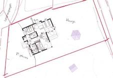 Dette er kun ment som en illustrasjon av hvor huset kan plasseres, tomtegrensene kan avvike.