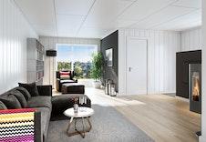 Illustrasjon stue, avvik kan forekomme fra ferdig bygg.