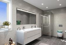 Herlig nytt bad med dobbel vask, dusj og toalett.  Dette er en illustrasjon og vil avvike fra virkeligheten.