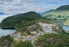 Dronefoto av hyttefeltet