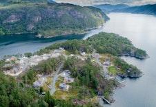 Dronebilde av Storøynå Hyttefelt fra vest