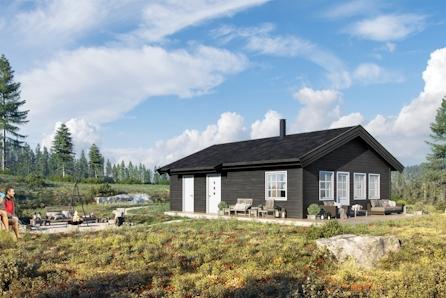NYHET! Flott prosjektert hytte RO1 på Buer Hyttefelt ved Aremarksjøen.