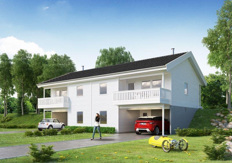 Lindås - Prosjektert tomannsbolig i nytt boligfelt på Fonnebust -  inkludert båtplass!