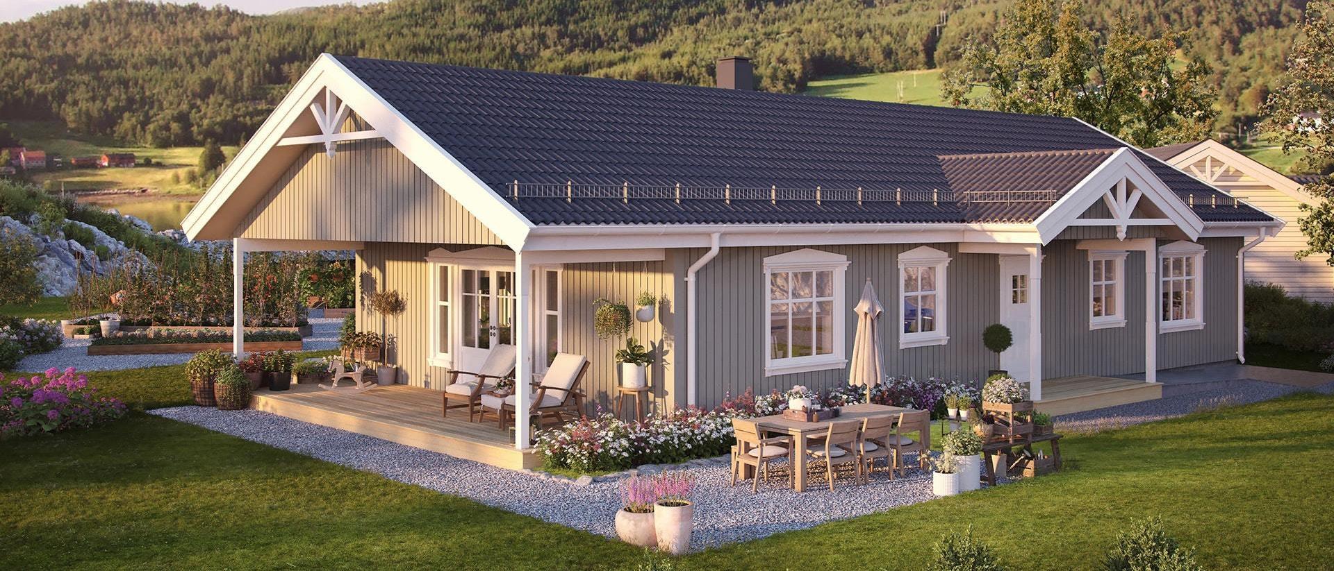 Lindås - Moderne enebolig på ett plan på Lindås med sjøutsikt og båtplass! Visning mandag 27. mai kl 18-19!