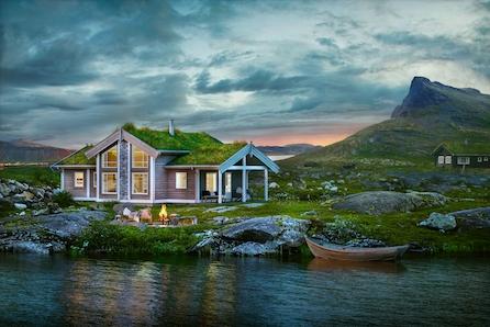 Flott og praktisk familiehytte av typen Midthø i nytt hyttefelt på Byrknesøy!