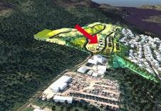 Illustrasjon av boligfeltet. Se rød pil. redigert