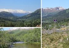 To øverste bileta er frå tomteområdet. Elva renn ned i dalen, kun eit kort stykke å gå.