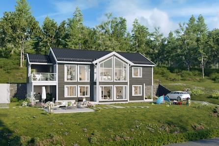 TORVIKA I HERØY: Prosjektert einebustad med store vindu og mønt himling i stue! Dobbelgarasje i tilknytning til bolig.