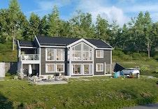 Enda ein variant av samme bolig. Vi tenker å bygge med dobbel garasje på solsiden.