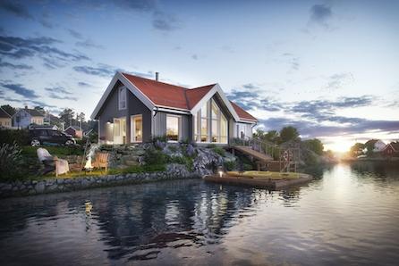 Familievenleg hytte med store vindu! Utsiktstomt i maritimt miljø, muligheit for å kjøpe naust og båtplass.