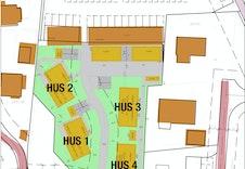 Situasjonskartet viser plassering av boligene og innkjøring fra vei.