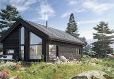 Illustrasjon av Kvarstad med oppgradert utvendig tak med Royalkledning, utvendig mellomstrøk og fargetilpasning på vinduer.
