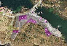 Dronebilde av tomteområdet.