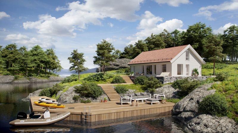 SUNDSET - Storåsen med 4 soverom på flott beliggende hyttetomt med sjøutsikt og særdeles gode solforhold.