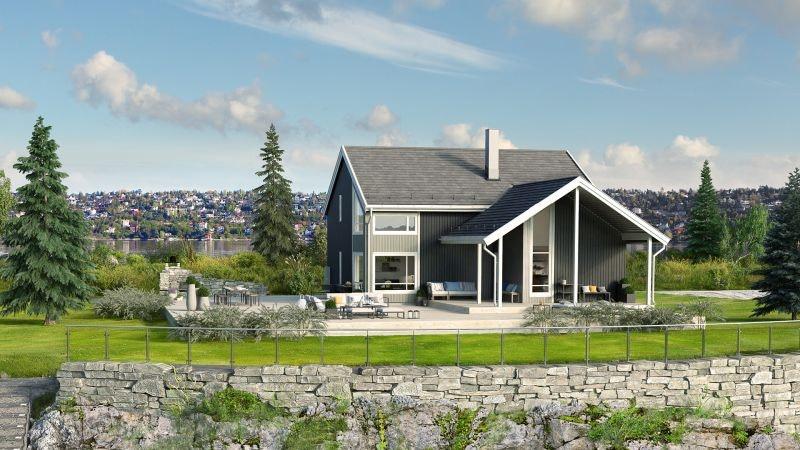 Moderne enebolig, på Langåsen i Småland. Flott boligfelt, byggeklart.