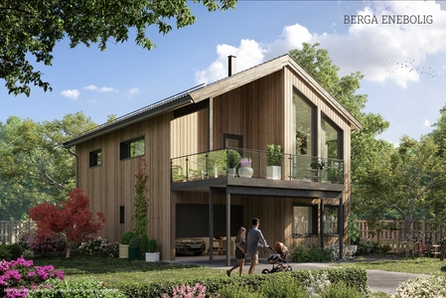 Ny Enebolig i Moderne still med garasje bygges i etablert boligfelt.