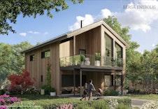 På tomt 10/118 har vi planlagt å bygge denne moderne eneboligen Berga fra BoligPartner. (illustrasjonsbilde)