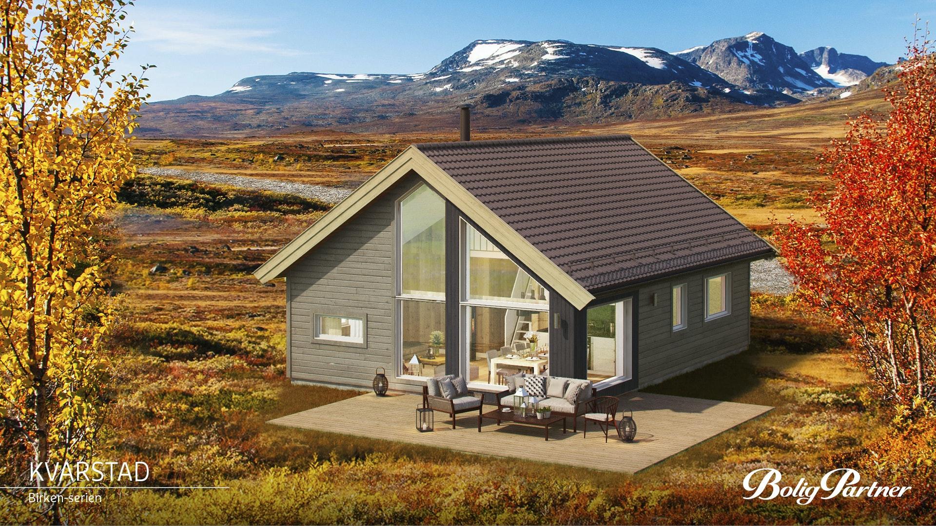 Flå/Turufjell - Prosjektert hytte KVARSTAD, en moderne hytte fra vår Birken-serie, på tomt H18 nær basen for området og kommende skitrekk.  Gode solforhold og vid utsikt.