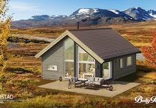 Kvarstad - dette er kun en illustrasjon av en tenkt hytte på tomten. Illustrasjonen vil vike fra virkeligheten og