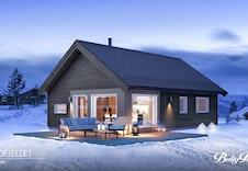 Raudfjellet - dette er kun en illustrasjon av en tenkt hytte på tomten. Illustrasjonen vil vike fra virkeligheten og gjengir ikke korrekt tomt og beliggenhet. Hytta er priset med annen takvinkel.