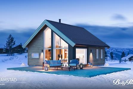 Turufjell - Tomt/grunnarbeid og komplett nøkkelferdig hytte. 56 m2 gulvareal. Mønt himling i stue/kjøkken.