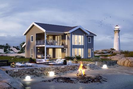Stor og moderne prosjektert enebolig med flott utsikt og stor tomt, kun 400 meter fra sjøen. 4 soverom.