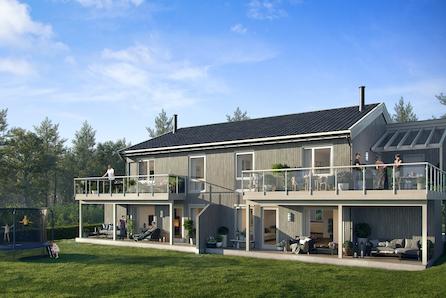 Prosjektert tomannsbolig i idylliske omgivelser med fantastiske solforhold.