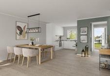 Illustrasjon av kjøkken og spisestue. Design ditt eget drømmekjøkken med kjøkkenkonsulent til en verdi av 150.000 kr.