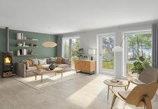 Illustrasjon av stue. Store vindusflater slipper inn mye naturlig lys i stuen.