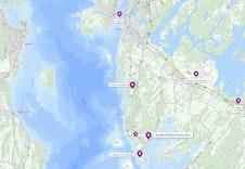 Kartoversikt som viser avstand fra tomten til bl.a. Rygge, Moss og togstasjon.