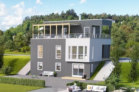 Gamlegrendåsen Terrasse. Moderne familiebolig på utsiktstomt, med mulighet for separat leilighet.