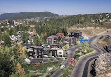 Dette er kun en illustrasjon av tenkte boliger på tomtene. Illustrasjon vil avvike fra virkeligheten, og gjengir ikke nøyaktig tomt og miljø. redigert