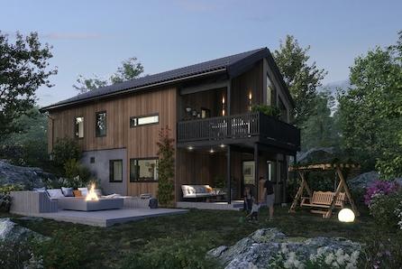 Arkitekttegnet stilren enebolig i solrikt og etablert område, nær skole og flotte turområder.