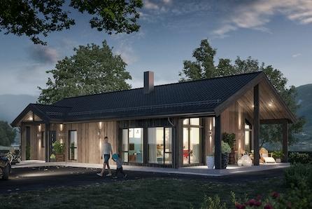 Hallingby. En lekker moderne bolig på ett plan. Stor stue/kjøkkenløsning, tre soverom. Kun 4 av 11 tomter ledig.