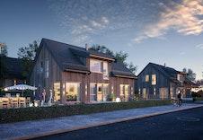 Dette er kun en illustrasjon av Bjørkli moderne og et forslag til hus på tomta. Illustrasjonen vil avvike fra virkelige omgivelser og miljø.
