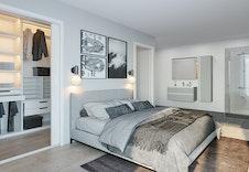 Illustrasjon av soverom. Kan avvike fra virkelig miljø og omgivelser.