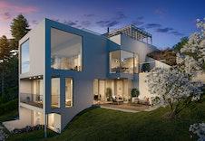 Illustrasjon av alternativ fasade. Pusset fasade kan velges som tilvalg. Kan avvike fra virkelig miljø og omgivelser.