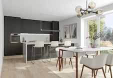 Illustrasjon av kjøkken. Kan avvike fra virkelig miljø og omgivelser.