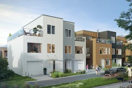SØRUMSAND // Nye tomannsboliger i kjede med takterrasser og garasje. Kort gangavst. til sentrum og tog. Halvparten solgt