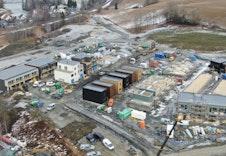 De fire første boligene er ferdigstilt, her ser man hvordan boligene vil ligge på feltet.