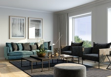 Store vinduer gir godt med dagslys inn i boligen. Illustrasjon fra stuen i bolig 2