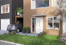 Inngangspartiet med carport, bolig 3