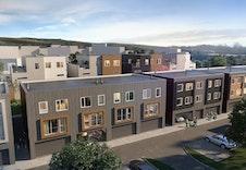 Bygg D med garasje og sportsboder i u.etg. og 2-etasjes rekkehus i 1. og 2. etasje.
