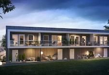 Oversiktsbilde med 2 etasjes rekkehus fra inngangen, bygg A.