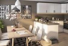 Romslig og fint kjøkken i 4-roms leilighetene med god plass til spisebord.  (Dette er en illustrasjon og kan fravike fra virkelige omgivelser)