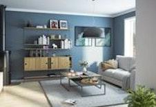 Stuen i 4-roms leiligheten med fin planløsning.  (Dette er en illustrasjon og kan fravike fra virkelige omgivelser)