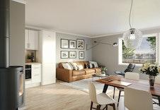 Åpen og fin stue-/kjøkken løsning i 2-roms leilighetene. (Dette er en illustrasjon og kan fravike fra virkelige omgivelser)